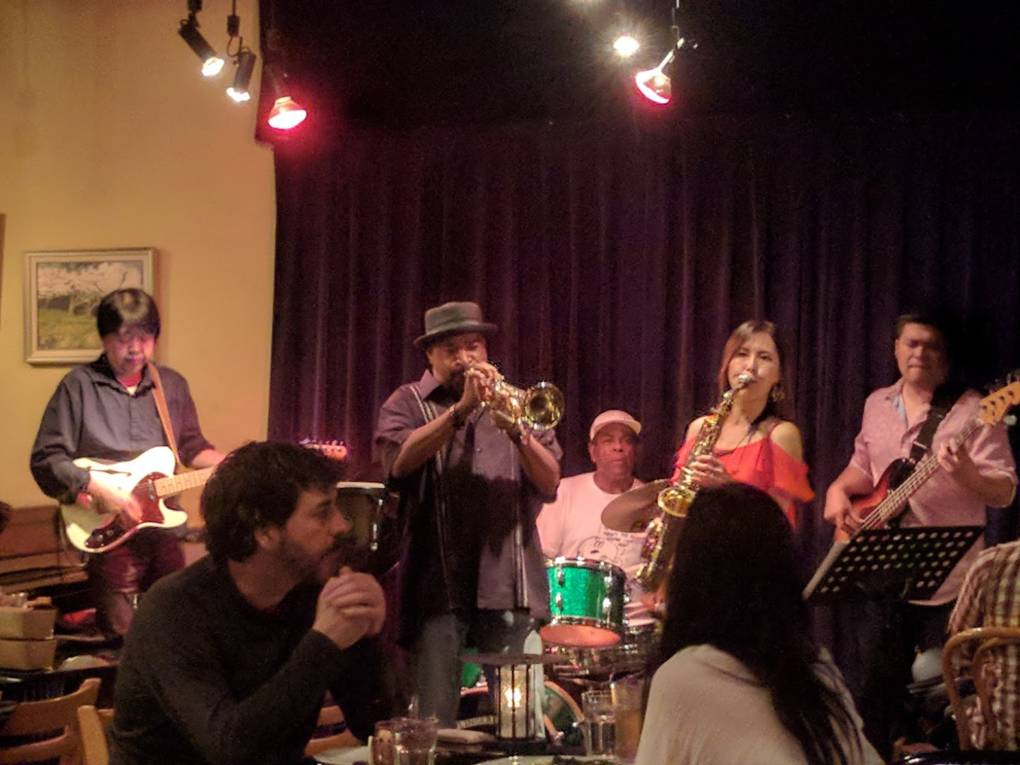 Sax player Otoe Mori, trumpeter Marty Arvan and band perform at Main Street Bistro in Guerneville.