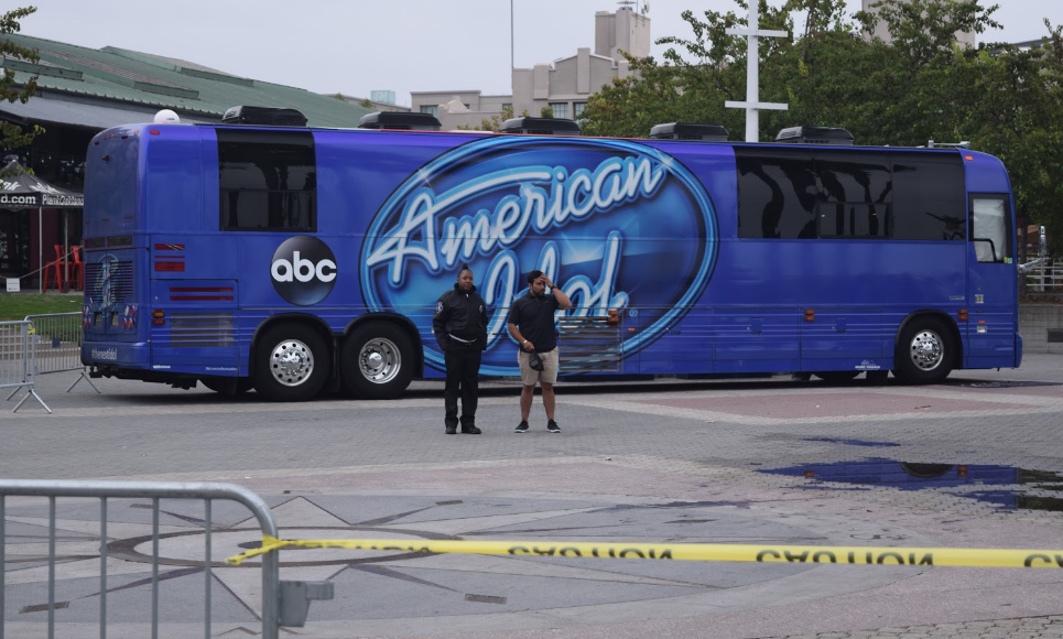 The American Idol bus, parked in Oakland's Jack London Square Carly Severn/KQED