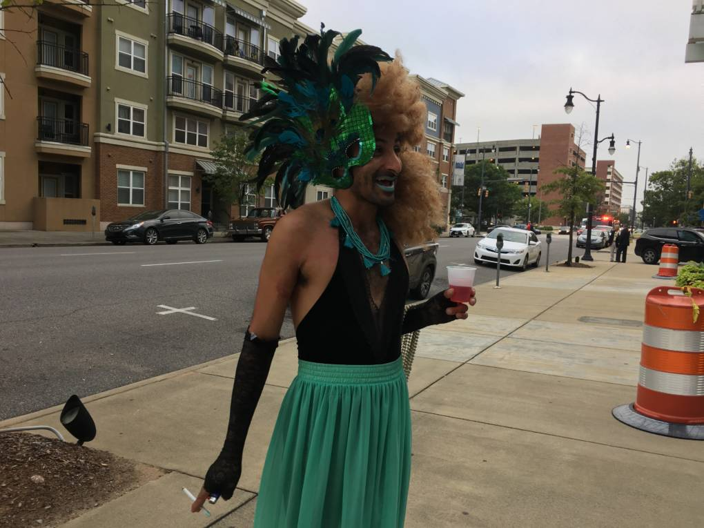 Getting ready for the on-bus drag show in Birmingham, Alabama.