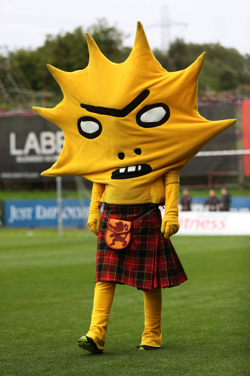 Kingsley the Partick Thistle mascot, at Firhill Stadium, August 18, 2018, Glasgow, Scotland.