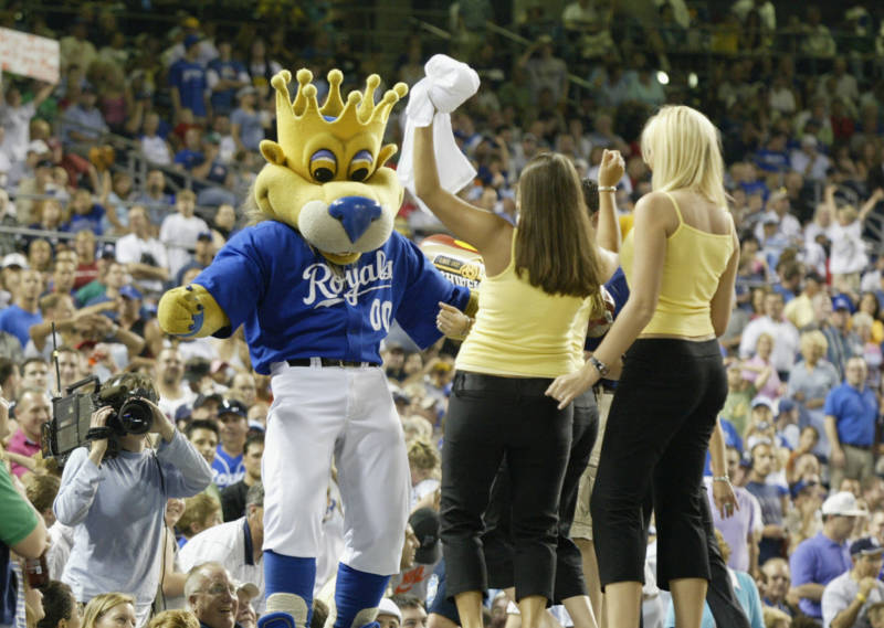 Sluggerrr, the Kansas City Royals mascot, at Kauffman Stadium, Kansas City, Missouri.
