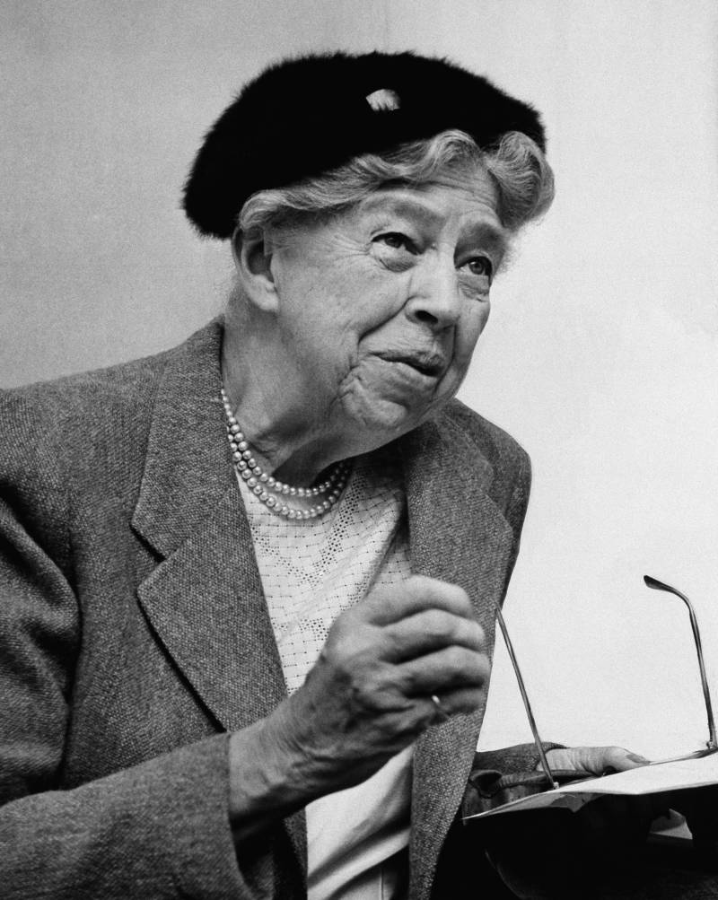 "Eleanor Roosevelt's advice column—""If You Ask Me""—ran from 1941, when she was still first lady, to her death in 1962. She's pictured above in October 1957."