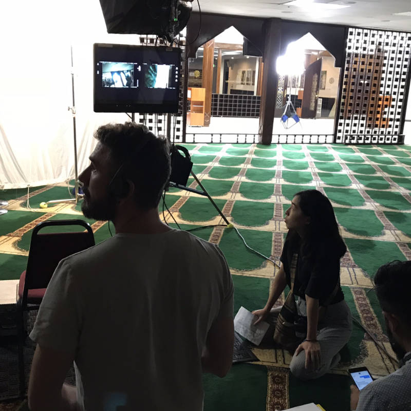 On the set of 'East of La Brea' at the Islamic Center of Southern California. The Web series, which focuses on two Muslim-American women, is one of a new crop of shows featuring Muslim characters.