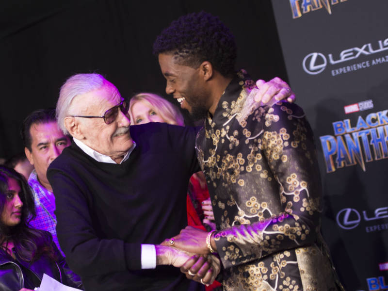 Stan Lee and actor Chadwick Boseman attend the world premiere of 'Black Panther.'