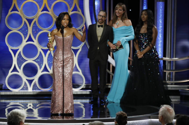 In this handout photo provided by NBCUniversal, Regina King accepts the Best Actress in a Supporting Role award at the 76th Annual Golden Globe Awards.