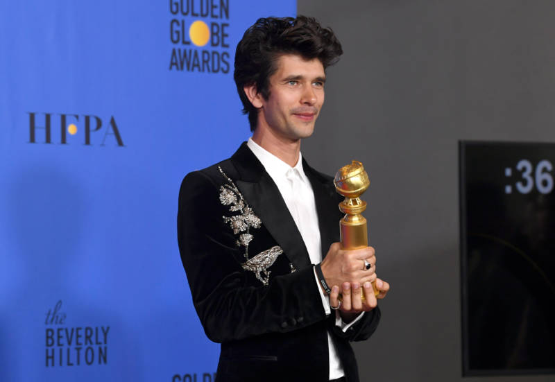 Ben Whishaw poses with his trophy, during the 76th Annual Golden Globe Awards.