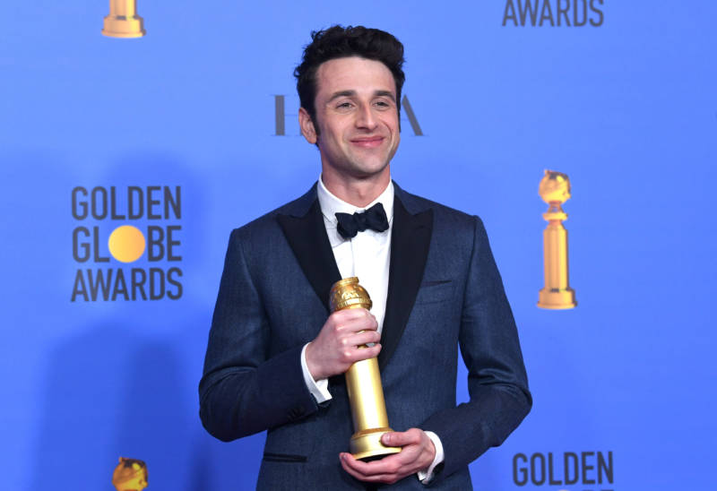 Best Original Score winner Justin Hurwitz poses with award during the 76th Annual Golden Globe Awards.