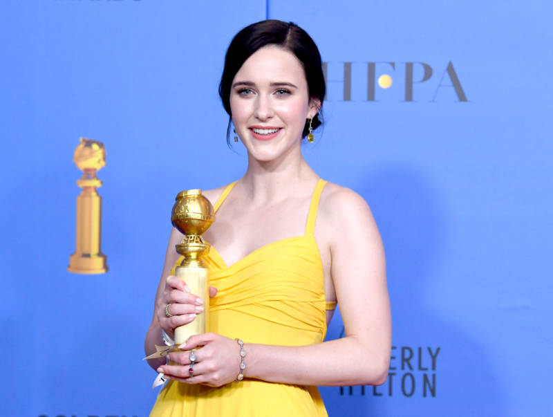 Rachel Brosnahan poses in the press room during the 76th Annual Golden Globe Awards.