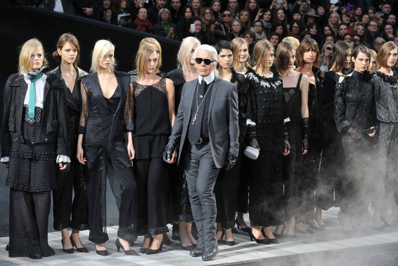 Karl Lagerfeld and models walk the runway during the Chanel Ready to Wear Autumn/Winter 2011/2012 show during Paris Fashion Week at Grand Palais on March 8, 2011 in Paris, France.