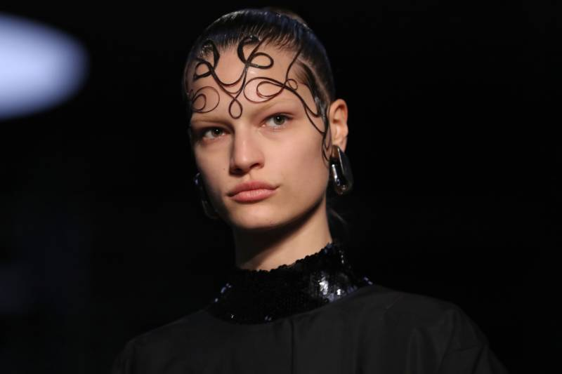 Many models at Burberry's 2019 Autumn/Winter London Fashion Week show had their hair styled to look like super-elaborate laid edges.