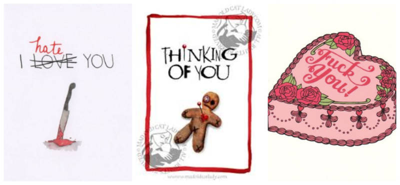 Cards available on Etsy from: Subversive Cards (left), Mad Old Cat Lady (center), Betty Turbo (right).