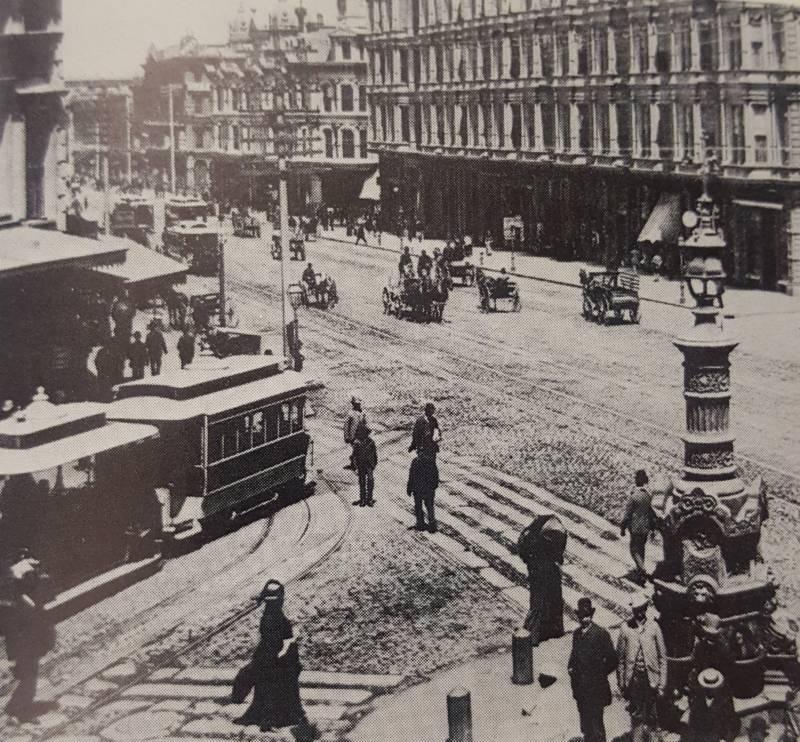 Lotta's fountain in 1877.