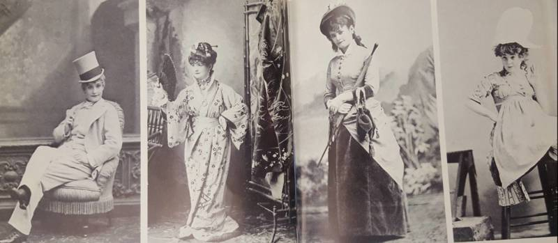 (L-R): Lotta as Paul in 'Pet of the Petticoats'; Mademoiselle Nitouche; herself; the Marchioness in 'Little Nell and the Marchioness.'