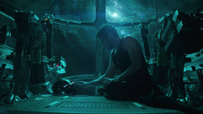 """""""I... was Iron Man."""" A stranded-in-space Tony Stark (Robert Downey Jr.) shares a somber moment with his suit's A.I."""