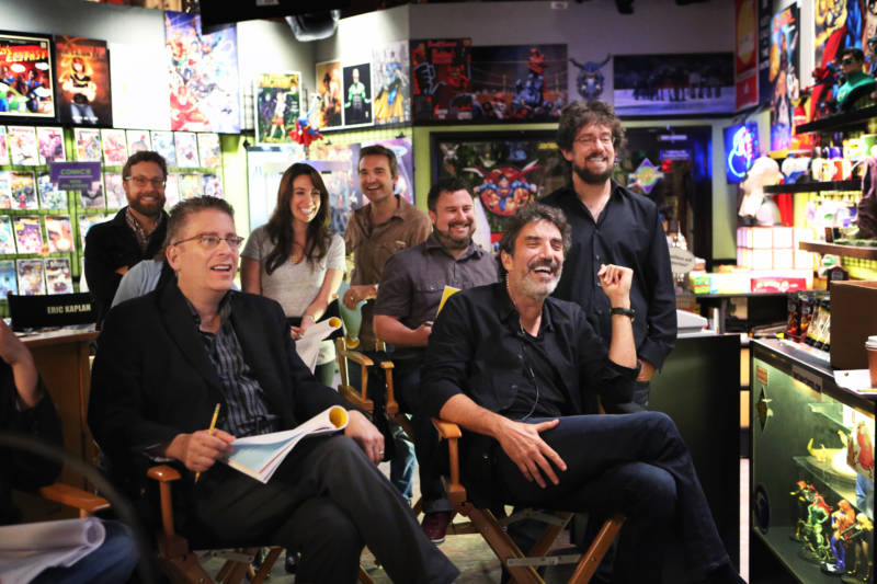 Bill Prady, front left, and Chuck Lorre, front right, are the co-creators of 'The Big Bang Theory.'