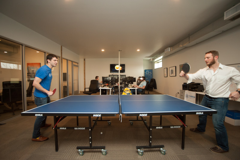 True to startup culture and their mission of promoting health,  Chiron includes a ping pong table at its Austin-based office. (courtesy Chiron Health)