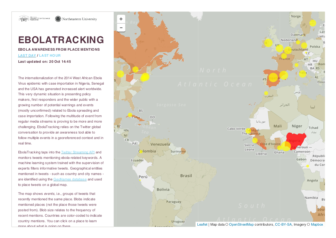 Screenshot of a real-time Ebola tracking map from researchers at Northeastern