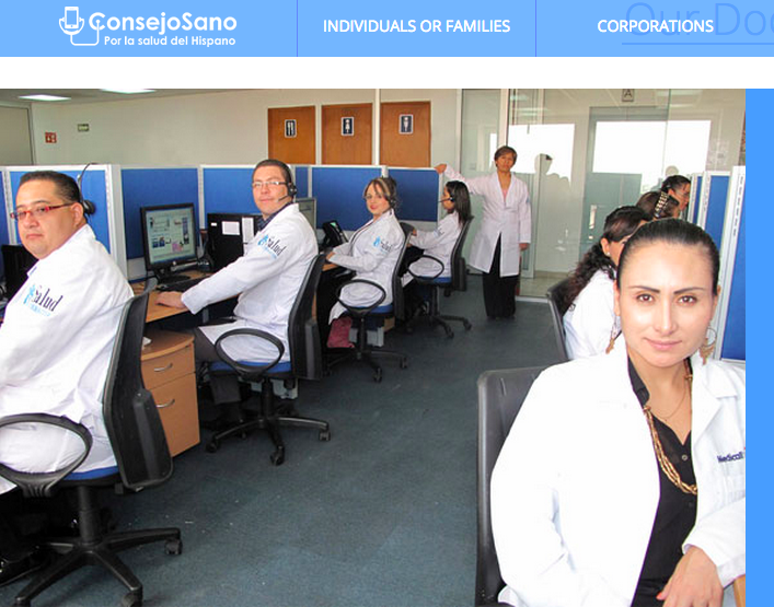 A screenshot from the English-language translation of the ConsejoSano website.