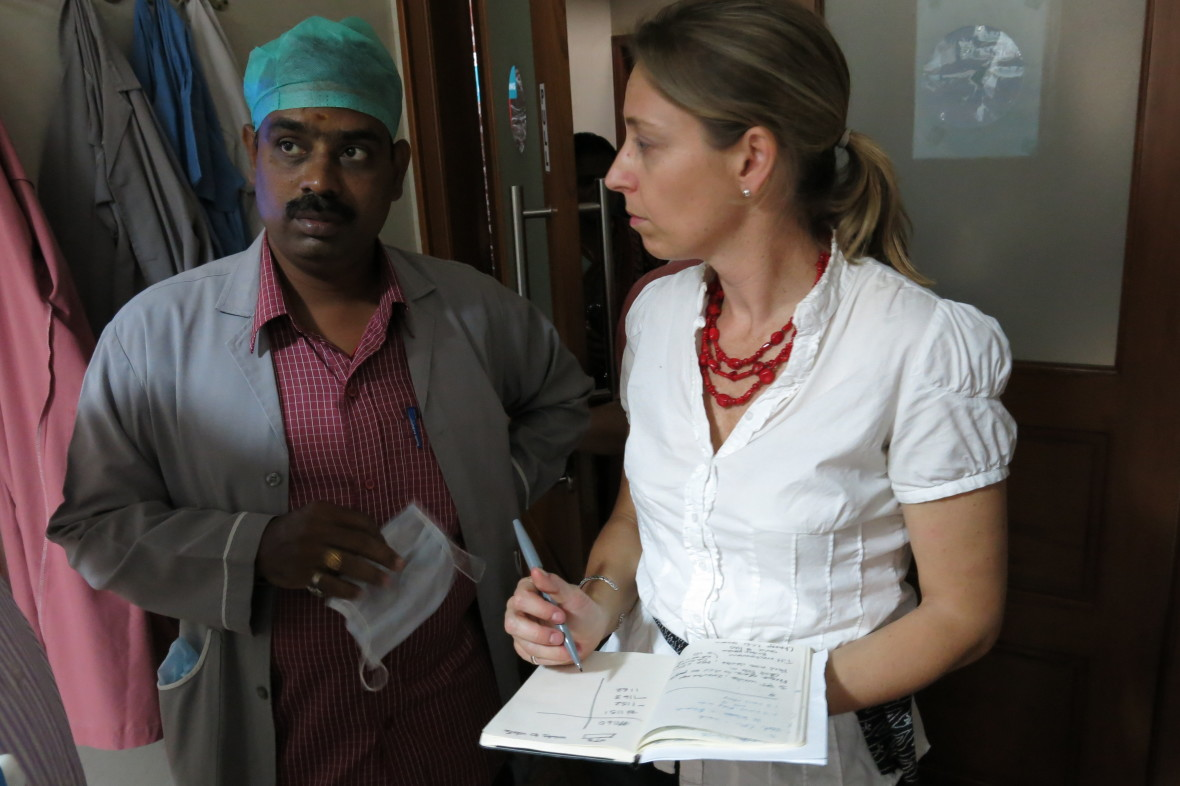 D-Rev CEO Krista Donaldson interviews a doctor in the field  D-Rev