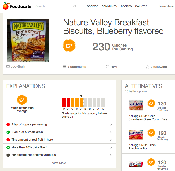 The Fooducate app gives a detailed breakdown of food products. (Christina Farr/KQED)