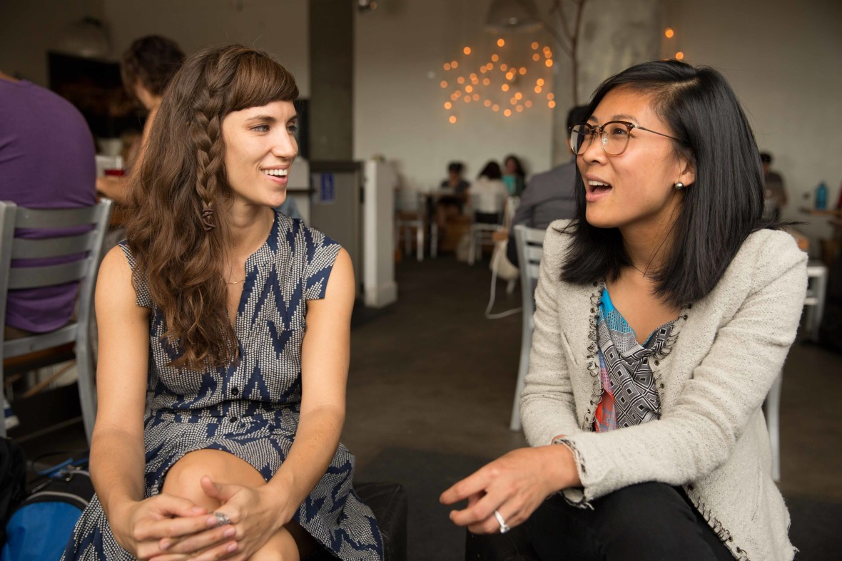 Amanda Angelotti (left) and Connie Chen (right), both graduates of UCSF's medical school, made the transition to digital health.  Josh Cassidy, KQED
