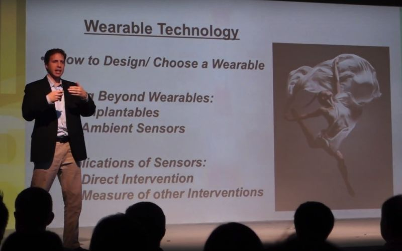 Matthew Diamond speaking at the Smart Nation conference on the topic of wearable technology.