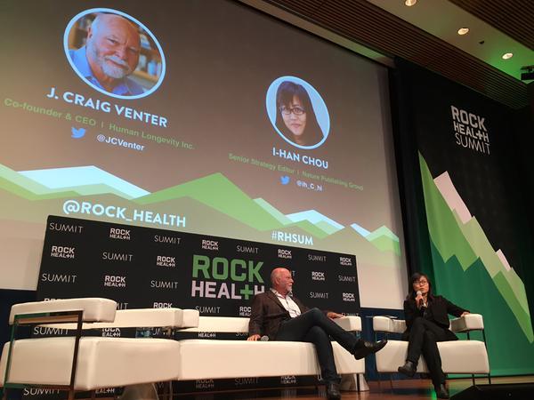 Craig Venter speaking at the Rock Health Summit.
