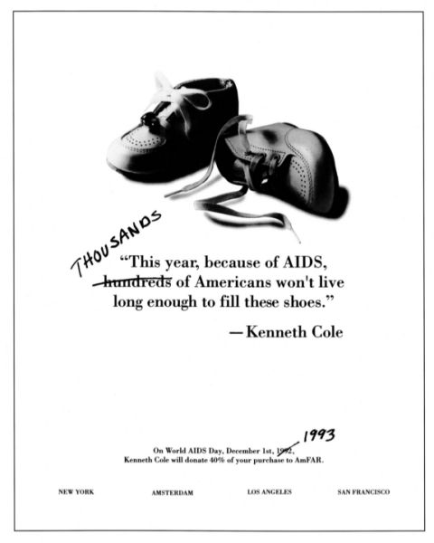 A Kenneth Cole/amfAR ad from 1993 when 234,225 died of AIDS.