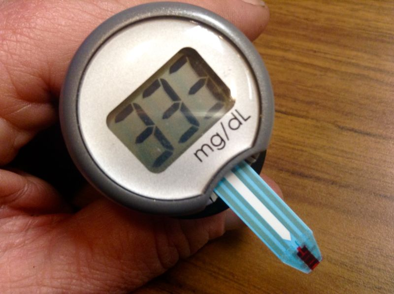 High glucose readings on a glucose meter.