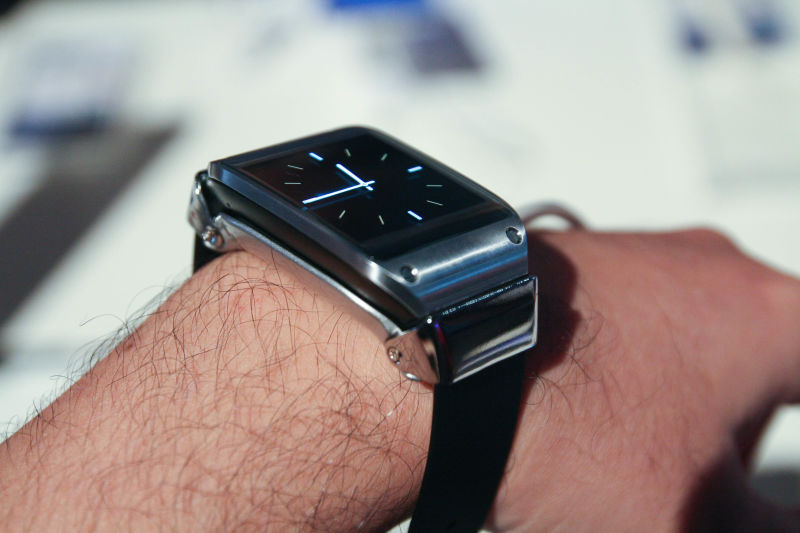 A Samsung Galaxy Gear smartwatch, which tracks steps and other health metrics.