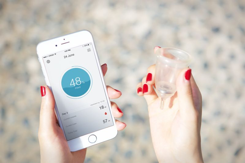 The Looncup pairs with your phone to track your menstrual cycle.