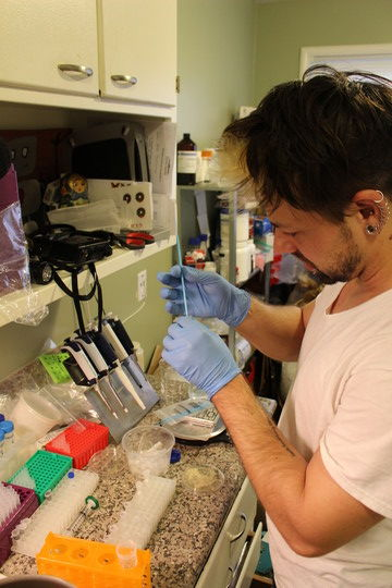 "Biohacker Josiah Zayner conducts a gene editing experiment in his kitchen. Zayner has started ""The ODIN"" a company dedicated providing low cost lab supplies for DIY scientists."