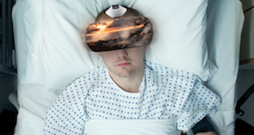 Patient watching AppliedVR game.