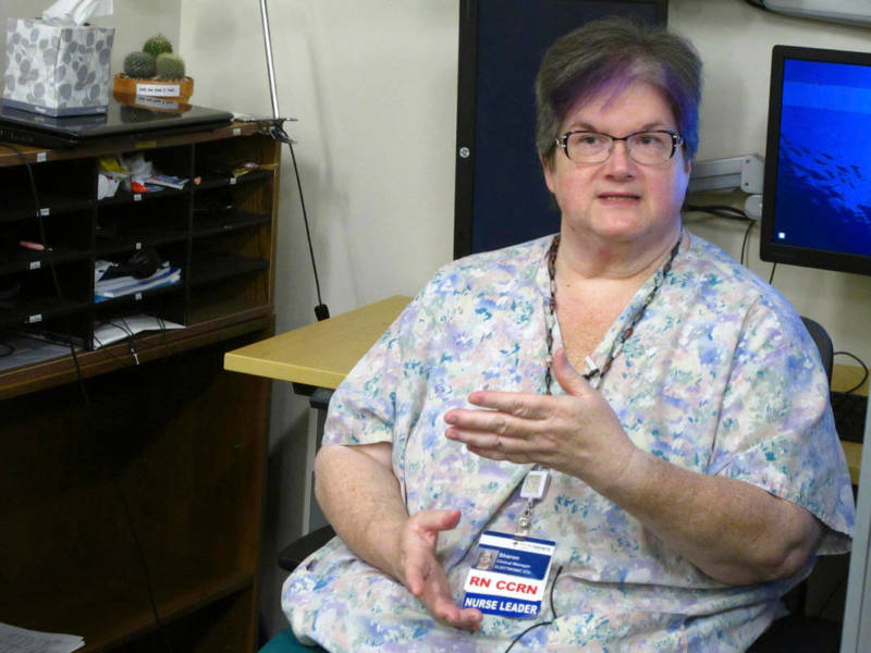 ICU office services manager Sharon Compton in Anchorage, Alaska, talks about a new telemedicine partnership between the Iliuliuk Family and Health Services on Unalaska Island and Providence Alaska Medical Center.