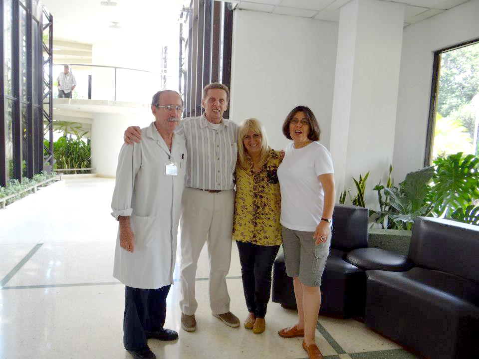 Dr. Augustin Lage (left) in Havana with Mick Phillips, researcher Gisela Gonzalez, and Maya Phillips.