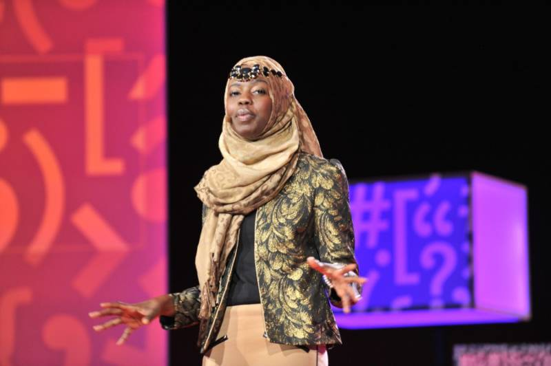 """Spoken word poet Emtithal """"Emi"""" Mahmoud on stage at TEDMED at the La Quinta Resort in Palm Springs."""