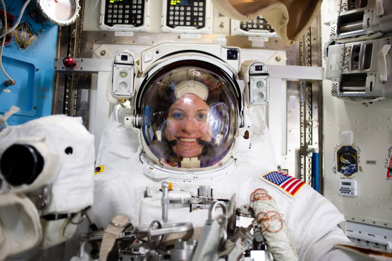 Rubins donned a spacesuit to install equipment on the outside of the International Space Station.