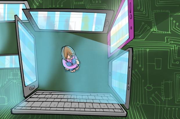 A cartoon showing a girl boxed in by computer screens.