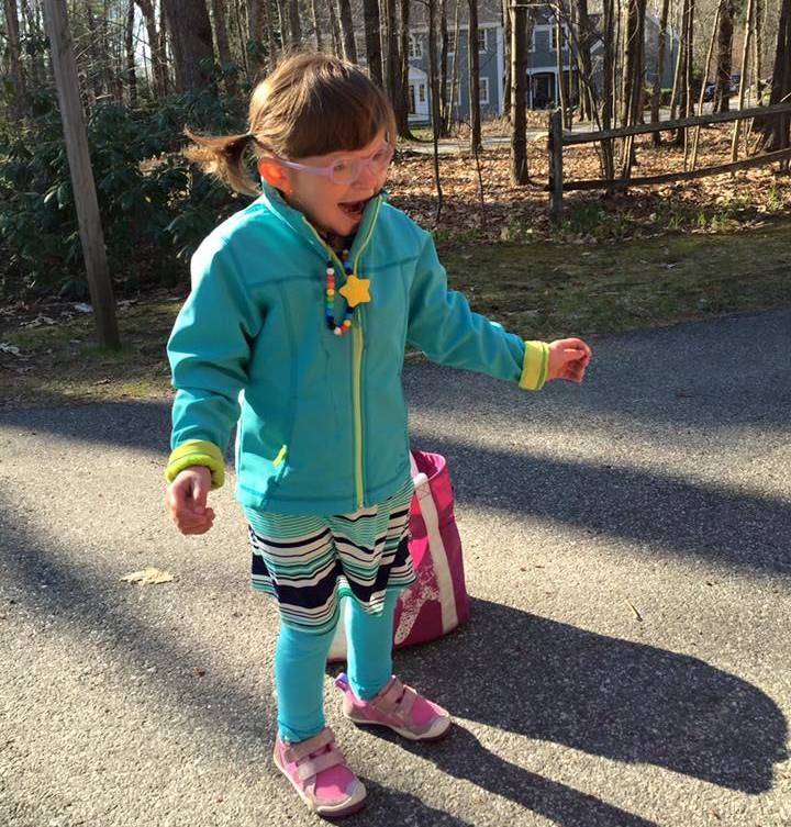Tess Bigelow is six years old and funtions at an 18-month-old level. Recently she walked 100 meters in the Special Olympics.