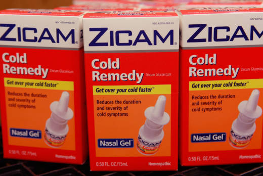 Boxes of Zicam cold remedy sit in the storeroom of a drugstore.