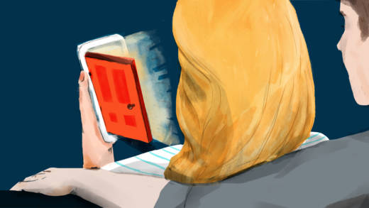 Illustration of a door opening on a woman's phone.