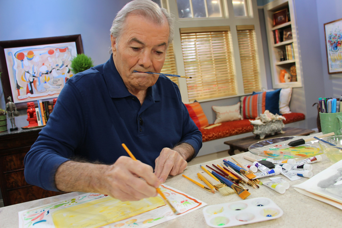 Jacques Pépin painting on the set of Heart & Soul
