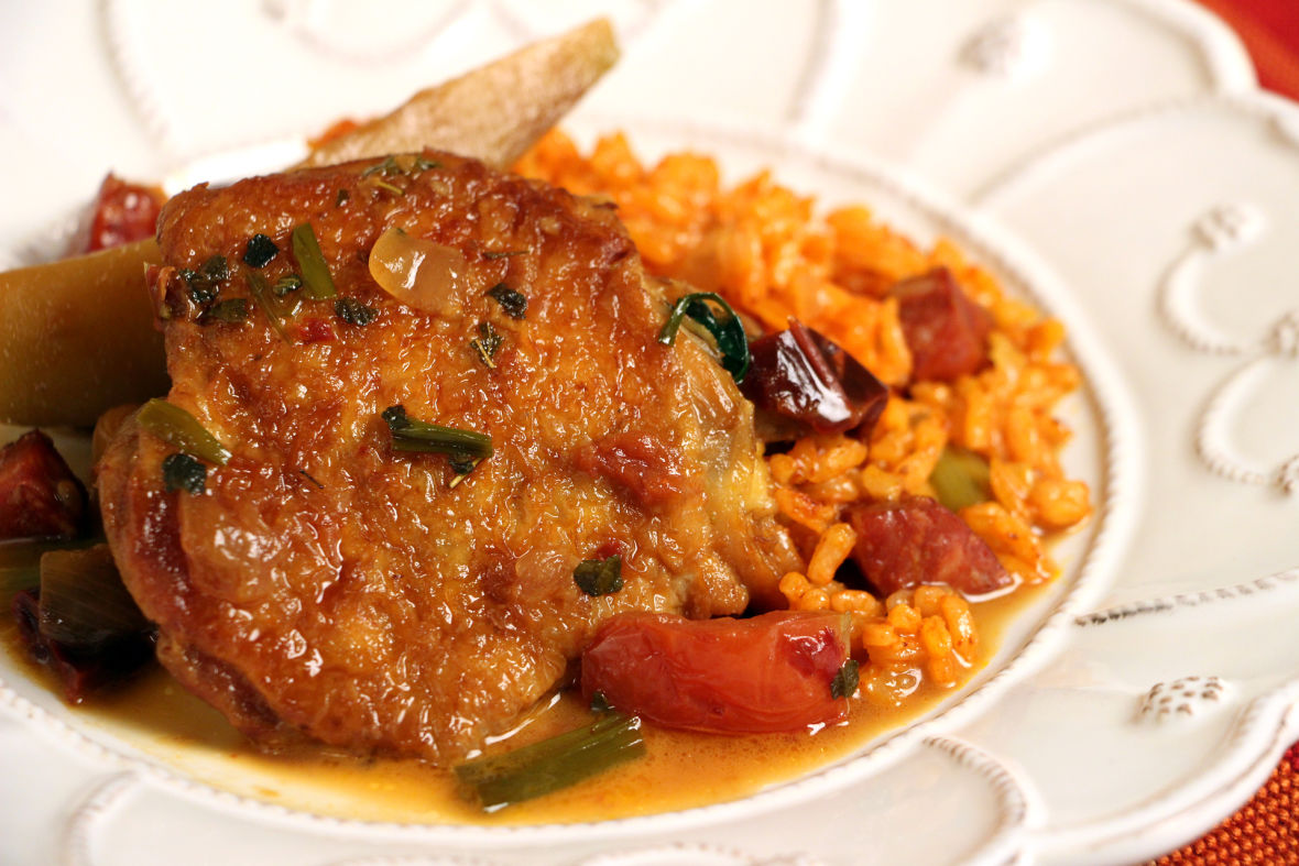 Chicken with Chili Sauce and Achiote Rice