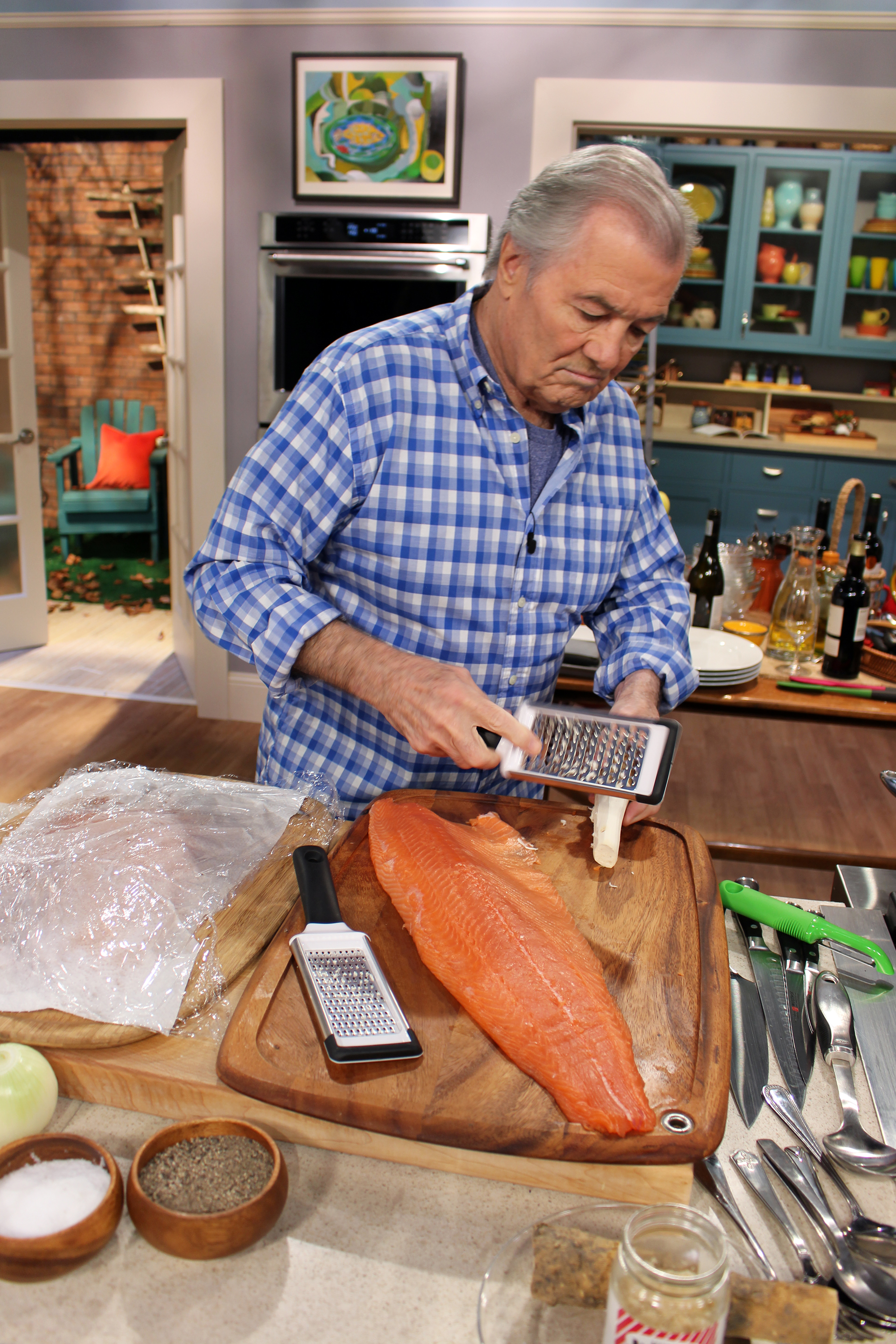 Jacques on the set of Heart & Soul preparing Salmon Rillettes.
