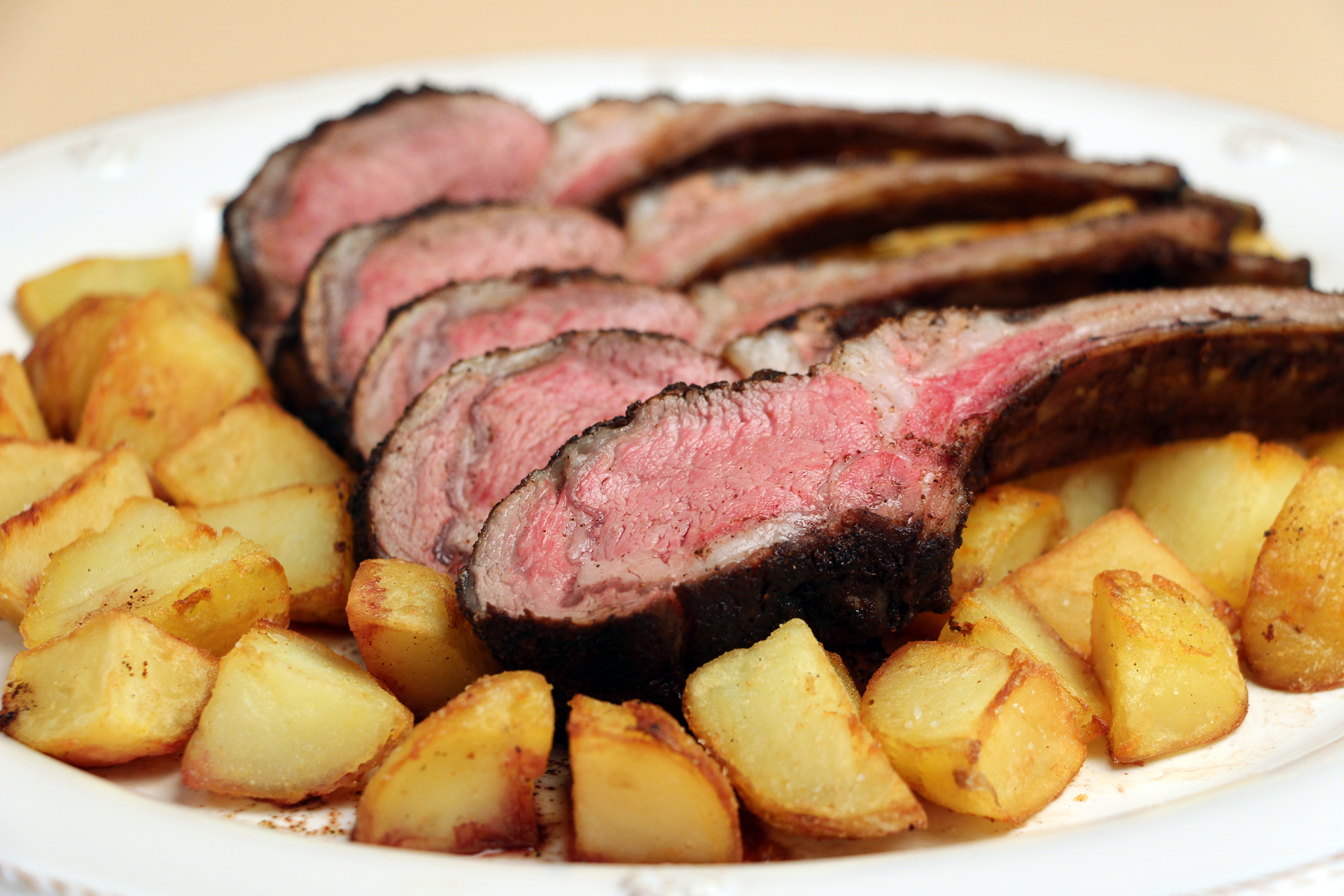 Rack of Lamb with Spice Crust and Fried Potatoes