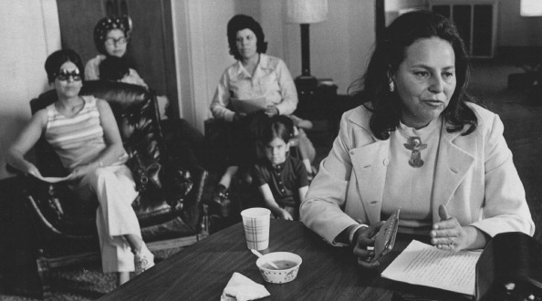 LaDonna Harris (Comanche) in a meeting with the Women's Political Caucus.