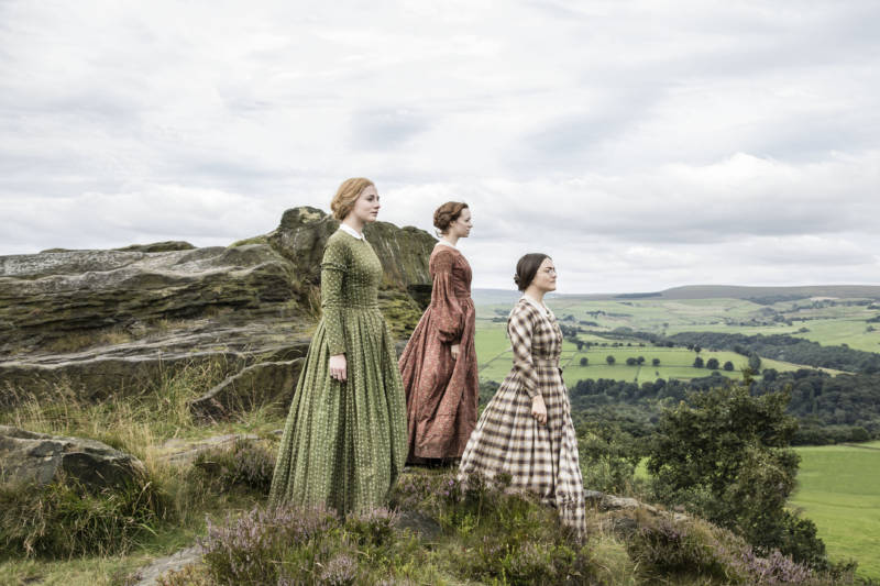 "Picture Shows (from left to right): Ann Bronte (CHARLIE MURPHY), Emily Bronte (CHLOE PIRRIE), and Charlotte Bronte (FINN ATKINS) (""To Walk Invisible: The Bronte Sisters"")"