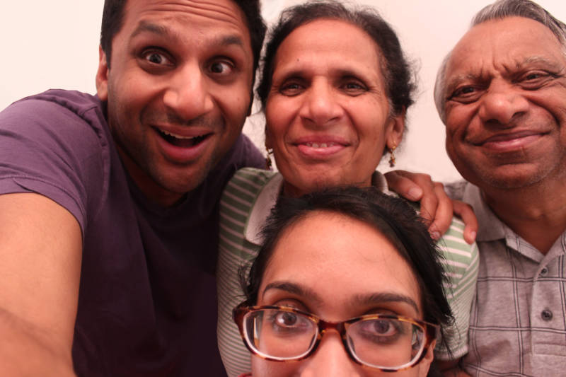"Ravi and Geeta Patel with their parents. (Independent Lens ""Meet the Patels"")"