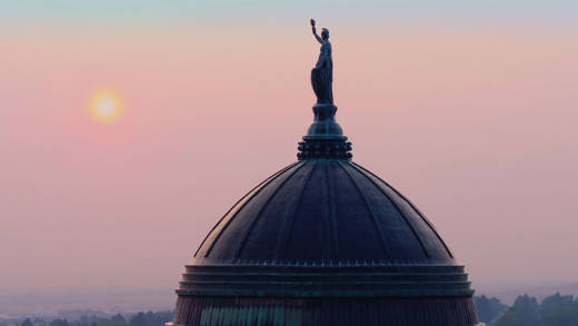 Montana's State Capitol building at dawn, from DARK MONEY, a PBS Distribution release.
