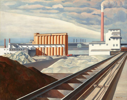 """Charles Sheeler, """"Classic Landscape"""" (detail), 1931. Oil on canvas, 25 × 32 1/4 in. (63.5 × 81.9 cm). National Gallery of Art, Washington, D.C., Collection of Barney A. Ebsworth, 2000.39.2. © Estate of Charles Sheeler, courtesy of the National Gallery of Art, Washington"""